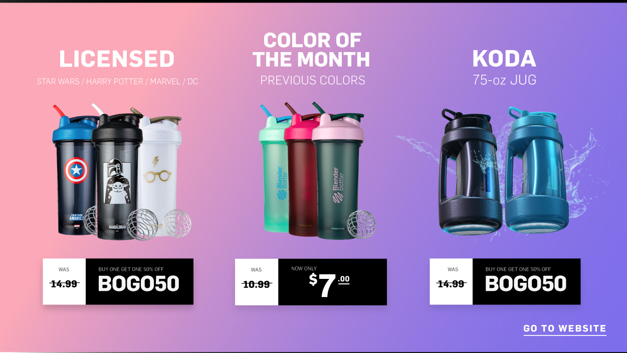 BOGO 50% Off Licensed Shakers and Koda Water Jugs