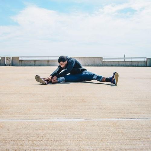 man stretching Cropped